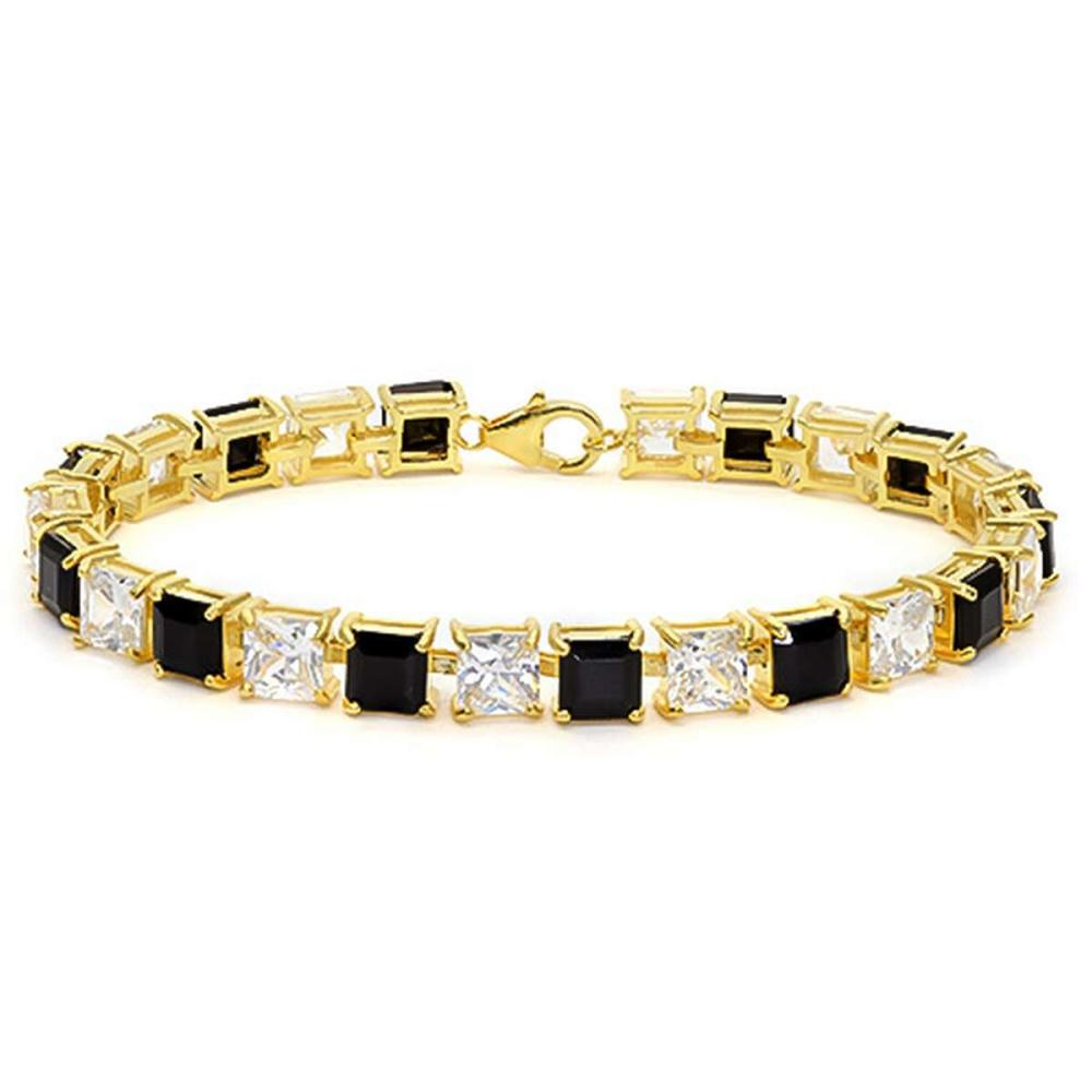 12.05 CT CREATED BLACK SAPPHIRE AND 12.05 CT CREATED WHITE SAPPHIRE 925 STERLING SILVER TENNIS BRACELET WITH GOLD PLATED IN SQUARE SHAPE #IRS50072