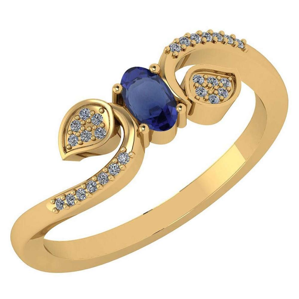 Certified 0.28 CTW Blue Sapphire And Diamond 14k Yellow Gold Halo Ring #IRS98645