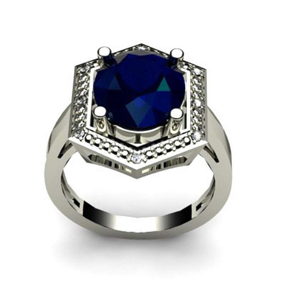 Genuine 6.08 ctw Sapphire Diamond Ring W/Y Gold 10kt #IRS11880