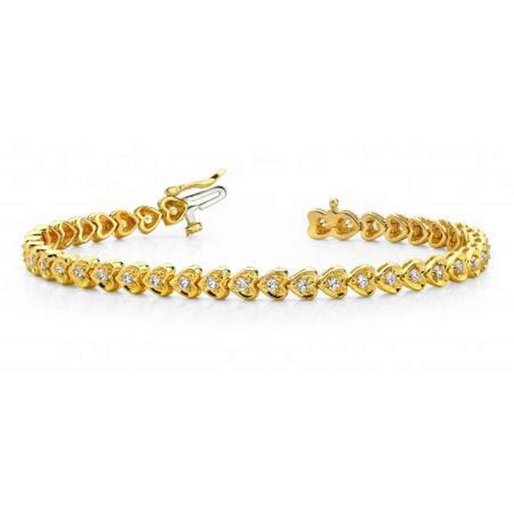 14K YELLOW GOLD 1 CTW G-H VS2/SI1 HEART LINK DIAMOND BRACELET #IRS19964