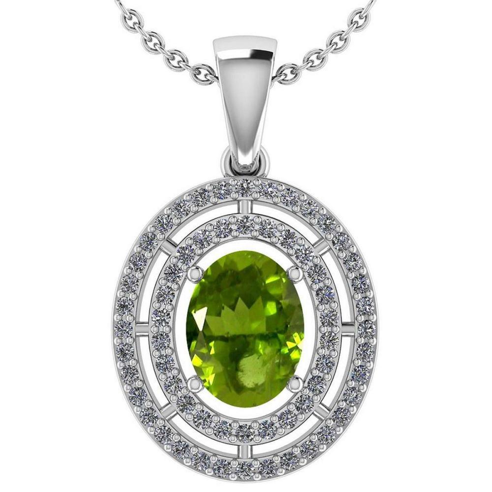 Certified 1.56 CTW Peridot And Diamond 14k White Gold Halo Pendant #IRS98484