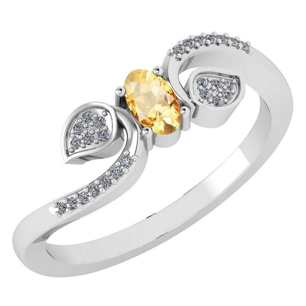Certified 0.28 CTW Citrine And Diamond 14k White Gold Halo Ring #IRS98674