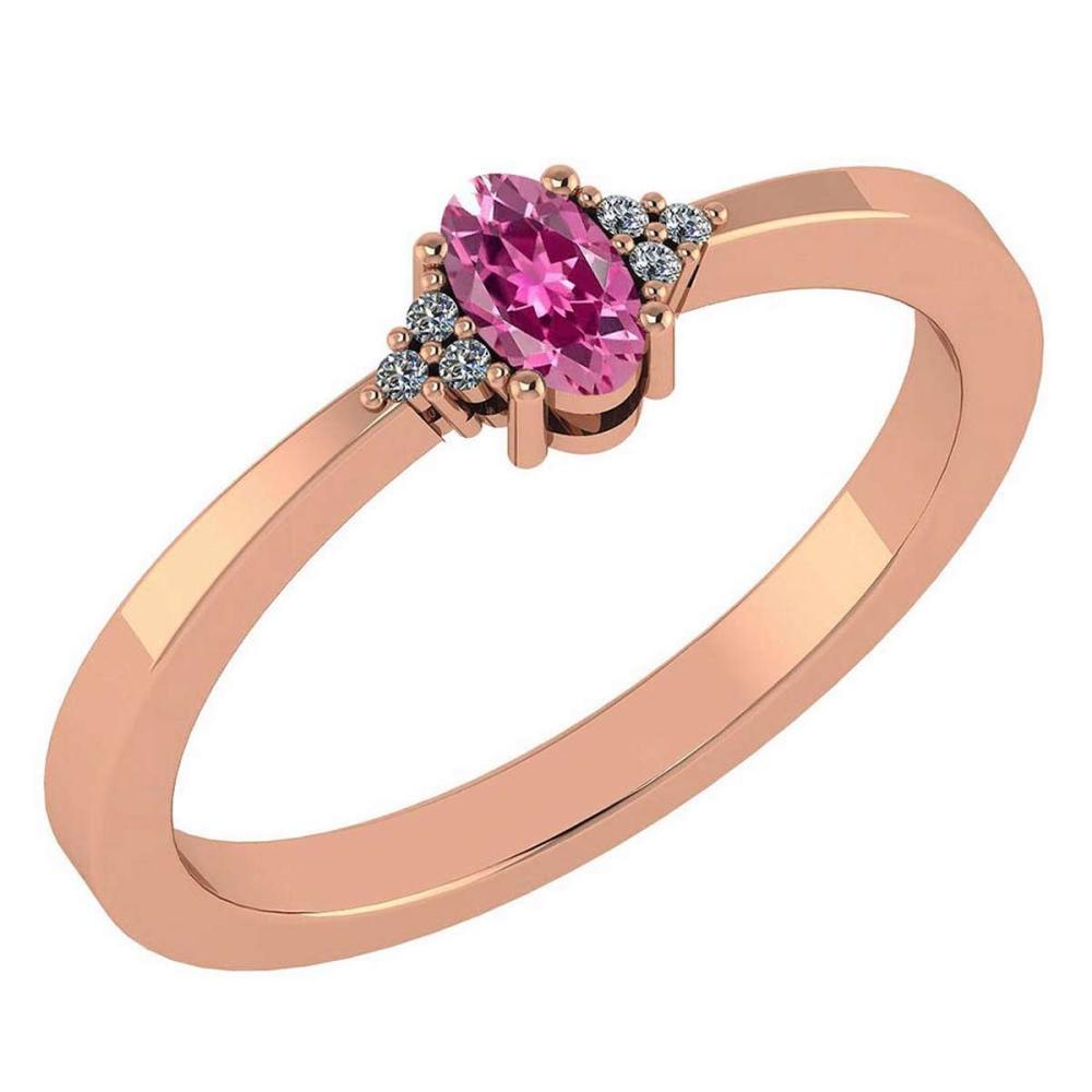 Certified 0.24 CTW Pink Tourmaline And Diamond 14k Rose Gold Halo Ring #IRS98457