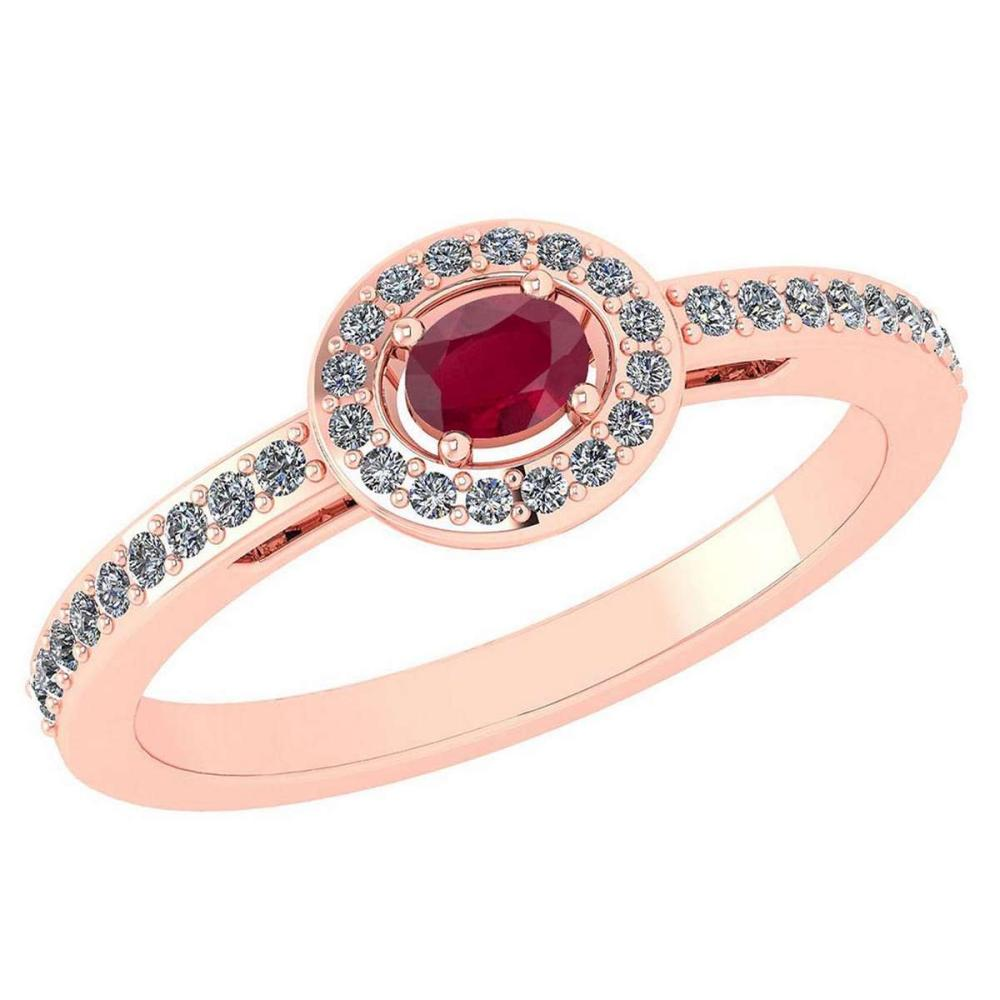 Certified 0.29 Ctw Ruby And Diamond 14k Rose Gold Halo Ring VS/SI1 #IRS99865