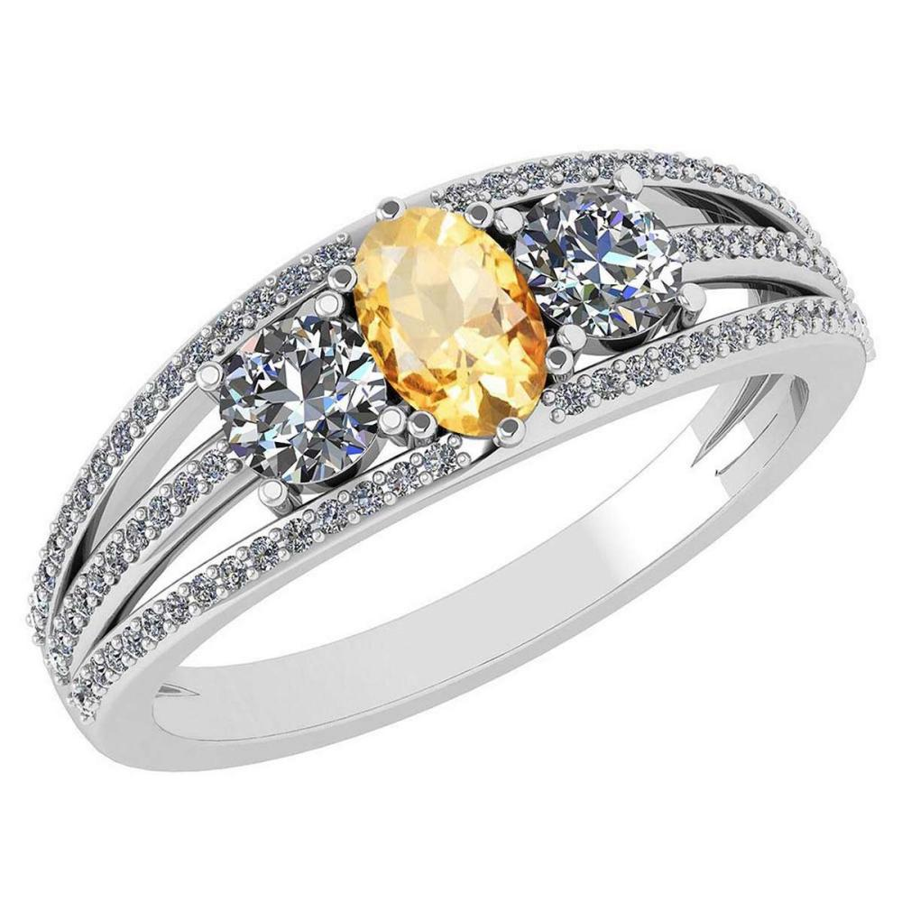 Certified 1.16 Ctw Citrine And Diamond 14k White Gold Halo Ring VS/SI1 #IRS99406