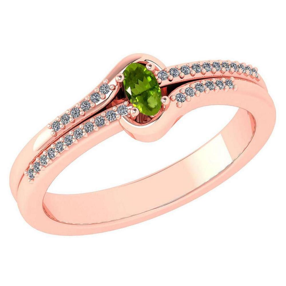 Certified 0.29 Ctw Peridot And Diamond 14k Rose Gold Halo Ring VS/SI1 #IRS99429