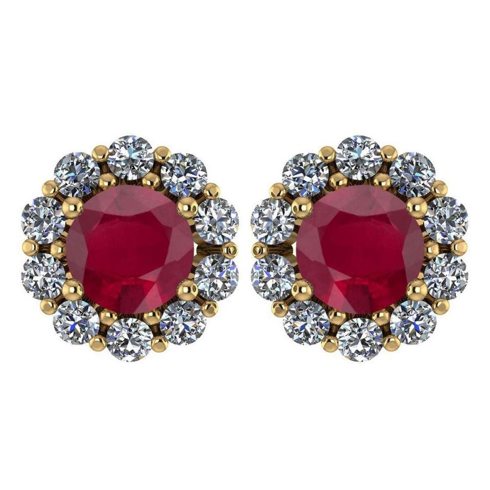 Certified 2.30 Ctw Ruby And Diamond 14k Yellow Gold Halo Stud Earrings #IRS97247