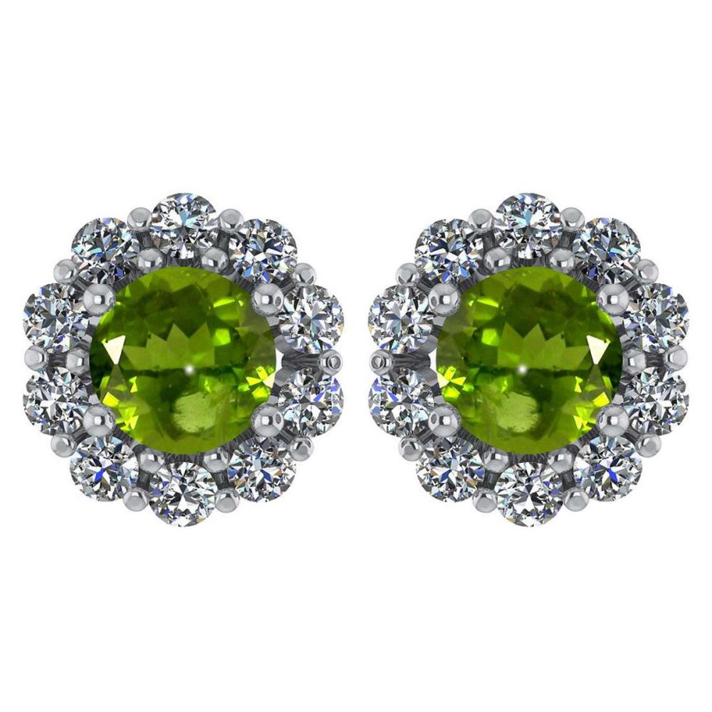 Certified 2.30 Ctw Peridot And Diamond 14k White Gold Halo Stud Earrings #IRS97233