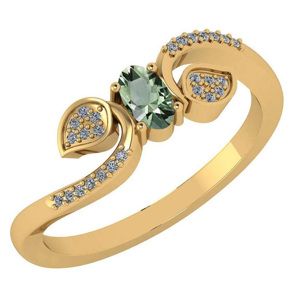 Certified 0.28 CTW Green Amethyst And Diamond 14k Yellow Gold Halo Ring #IRS98653