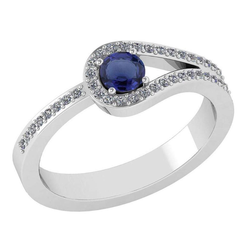 Certified 1.30 Ctw Blue Sapphire And Diamond 14k White Gold Halo Ring VS/SI1 #IRS99346