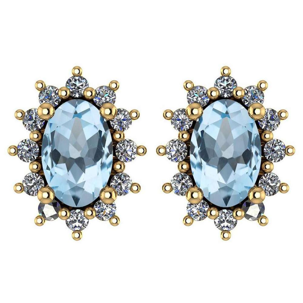 Certified 1.24 Ctw Aquamarine And Diamond 14k Yellow Gold Halo Stud Earrings #IRS99834
