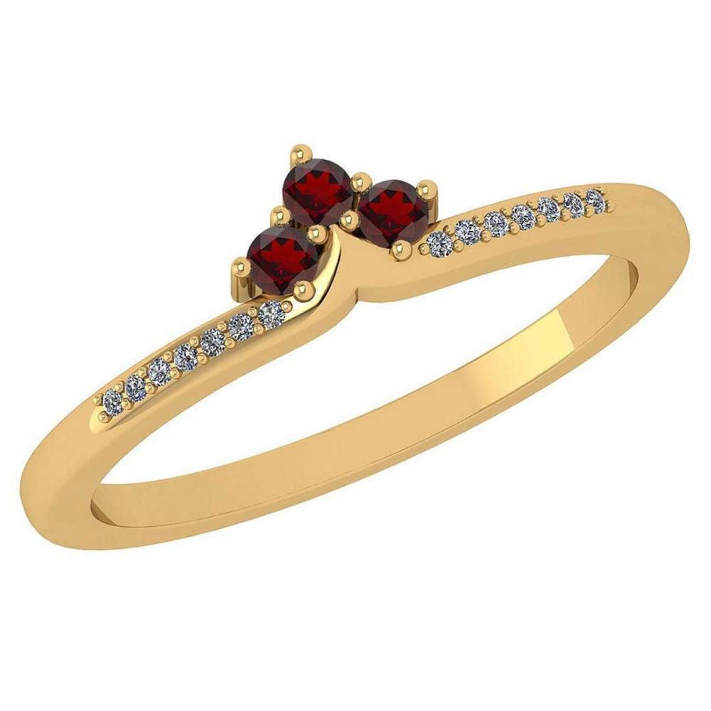 Certified 0.13 Ctw Garnet And Diamond 14k Yellow Gold Halo Ring VS/SI1 #IRS99474