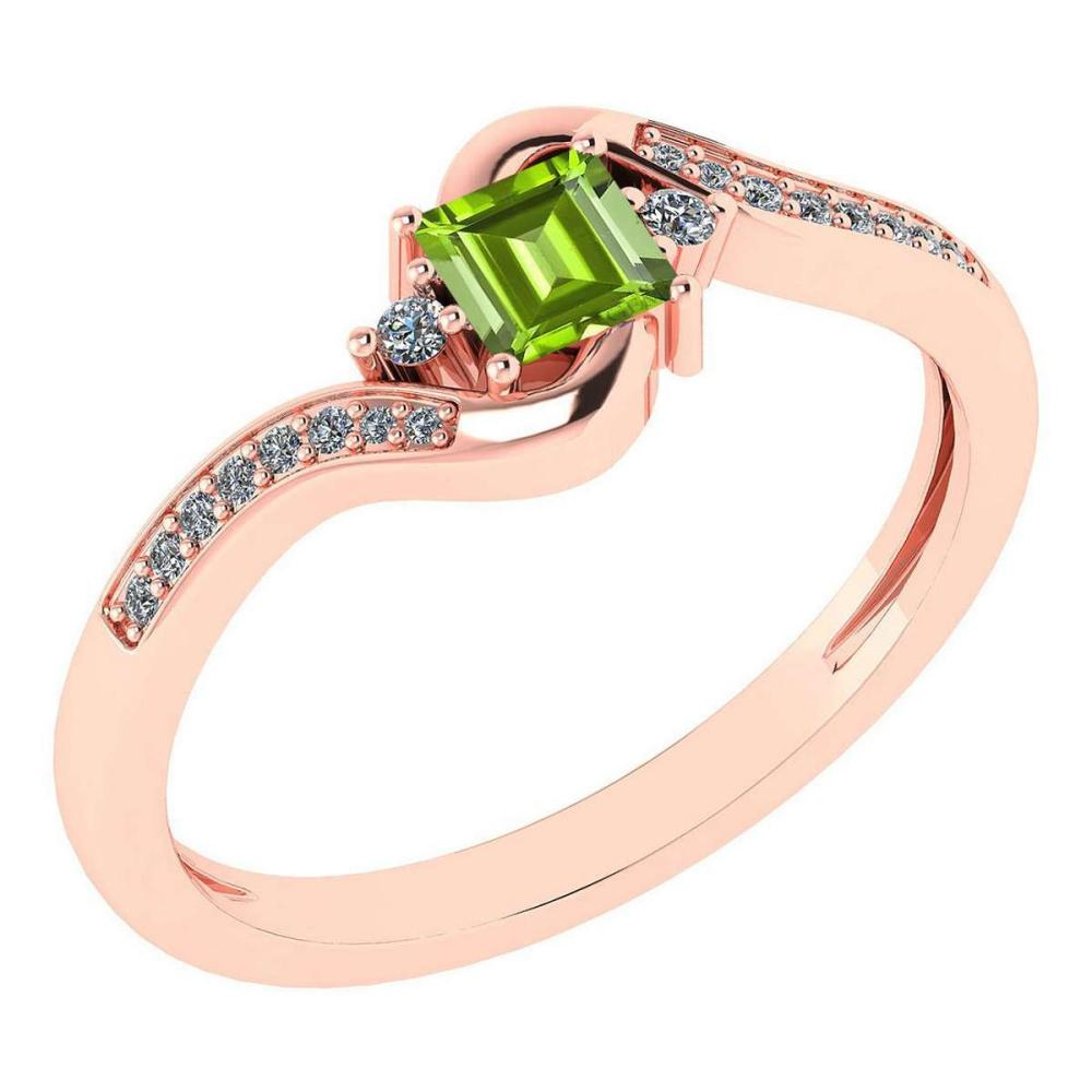 Certified 0.51 Ctw Peridot And Diamond 14k Rose Gold Halo Promise Ring #IRS97312