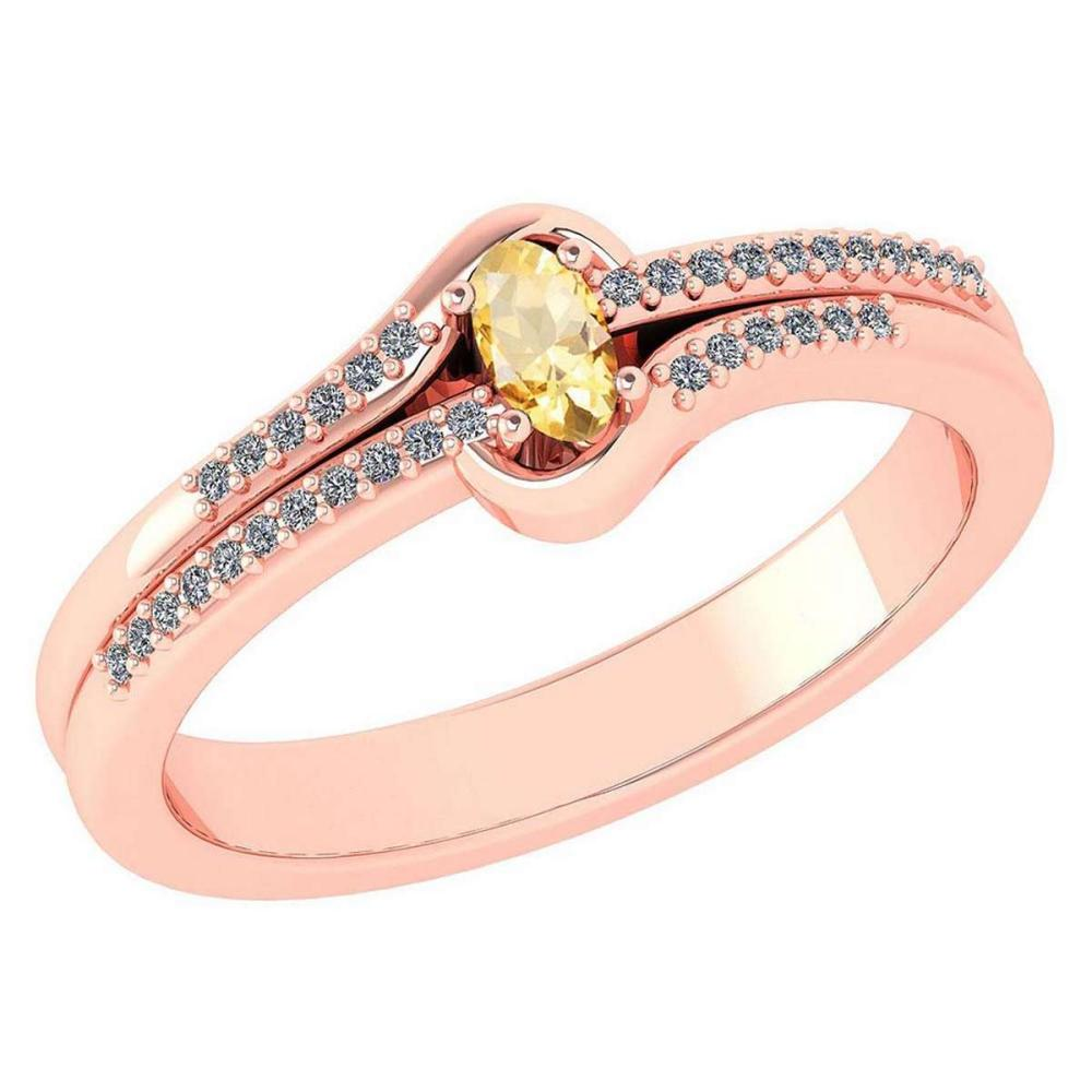 Certified 0.29 Ctw Citrine And Diamond 14k Rose Gold Halo Ring VS/SI1 #IRS99432