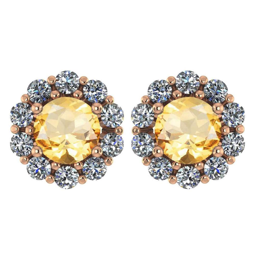 Certified 2.30 Ctw Citrine And Diamond 14k Rose Gold Halo Stud Earrings #IRS97245