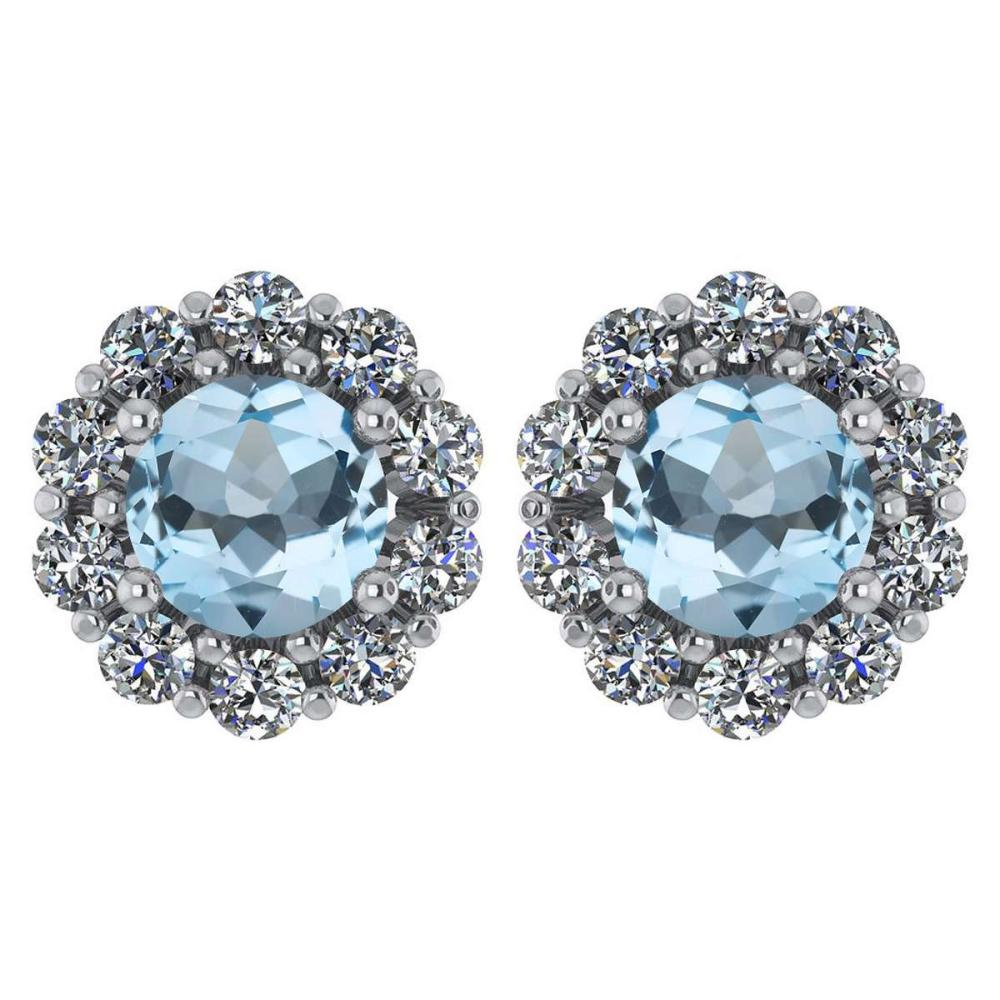 Certified 2.30 Ctw Aquamarine And Diamond 14k White Gold Halo Stud Earrings #IRS97229