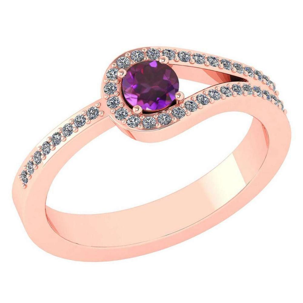 Certified 1.30 Ctw Amethyst And Diamond 14k Rose Gold Halo Ring VS/SI1 #IRS99361