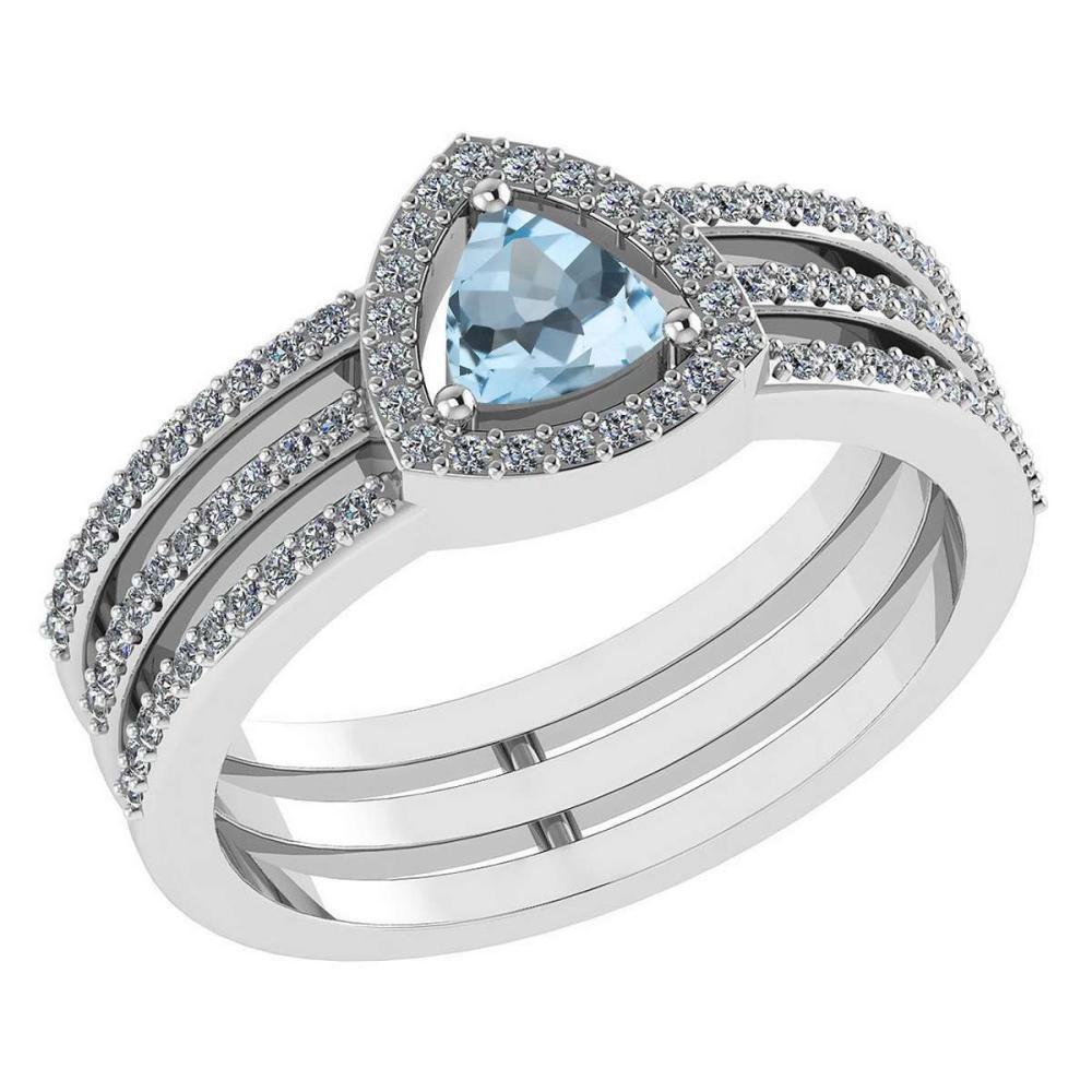 Certified 0.91 Ctw Aquamarine And Diamond 14k White Gold Halo Anniversary Ring #IRS97328