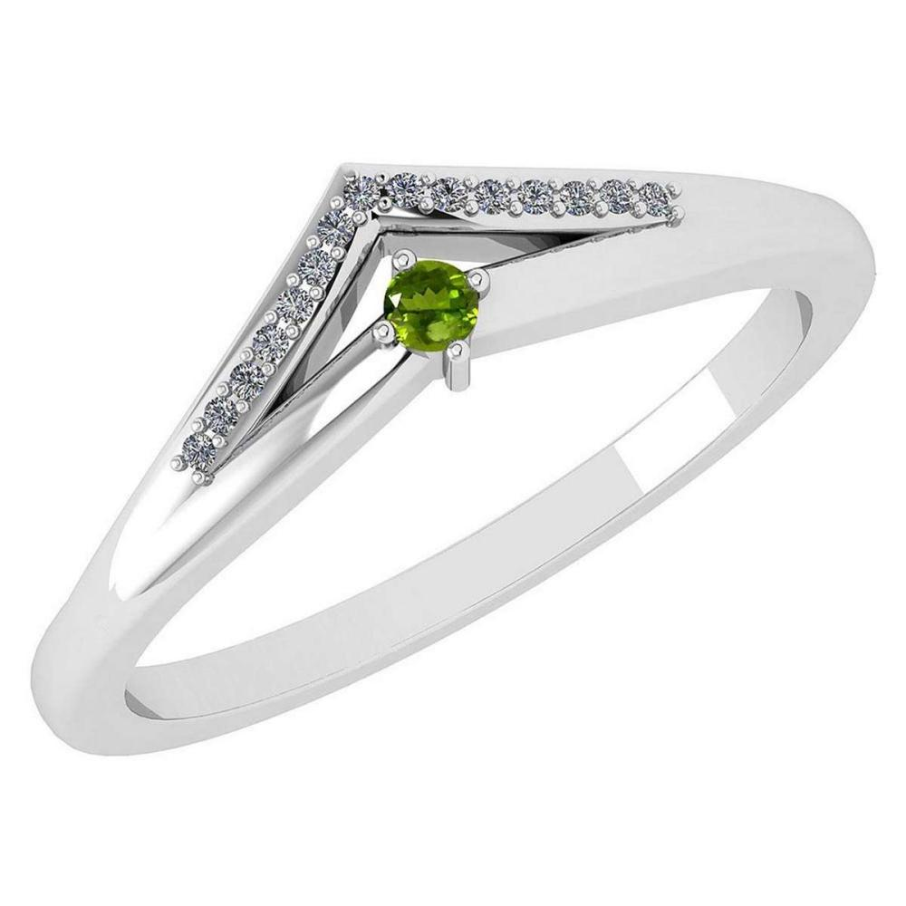 Certified 0.07 Ctw Peridot And Diamond 14k White Gold Halo Ring VS/SI1 #IRS99826