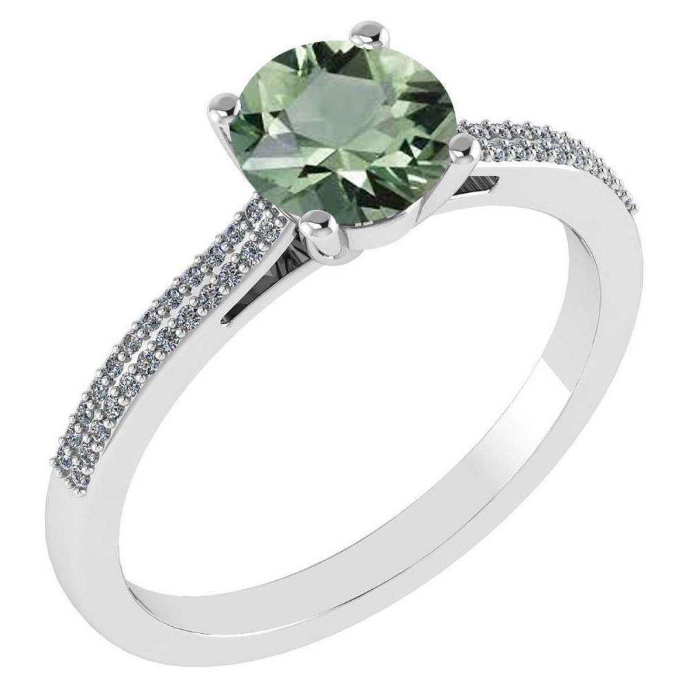 Certified 1.37 Ctw Green Amethyst And Diamond 14k White Gold Halo Ring #IRS97264