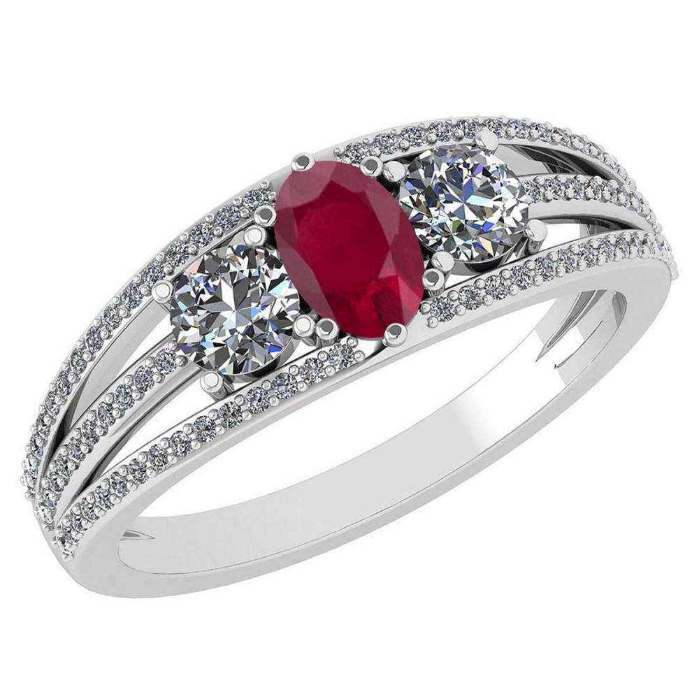 Certified 1.16 Ctw Ruby And Diamond 14k White Gold Halo Ring VS/SI1 #IRS99402