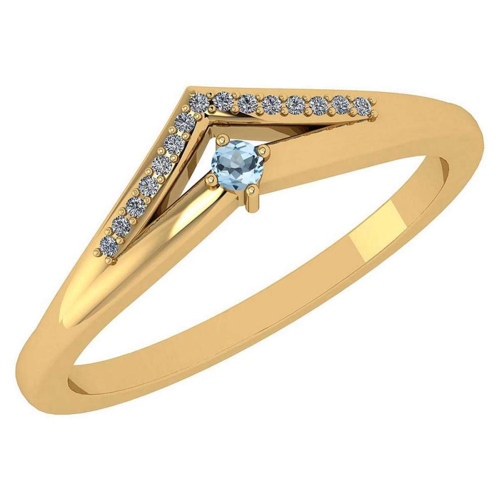 Certified 0.07 Ctw Aquamarine And Diamond 14k Yellow Gold Halo Ring VS/SI1 #IRS99481