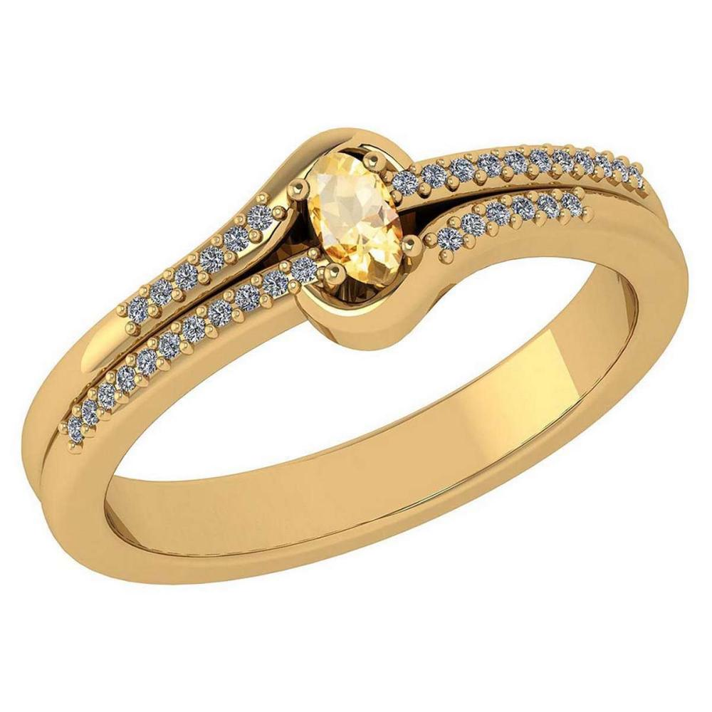 Certified 0.29 Ctw Citrine And Diamond 14k Yellow Gold Halo Ring VS/SI1 #IRS99443