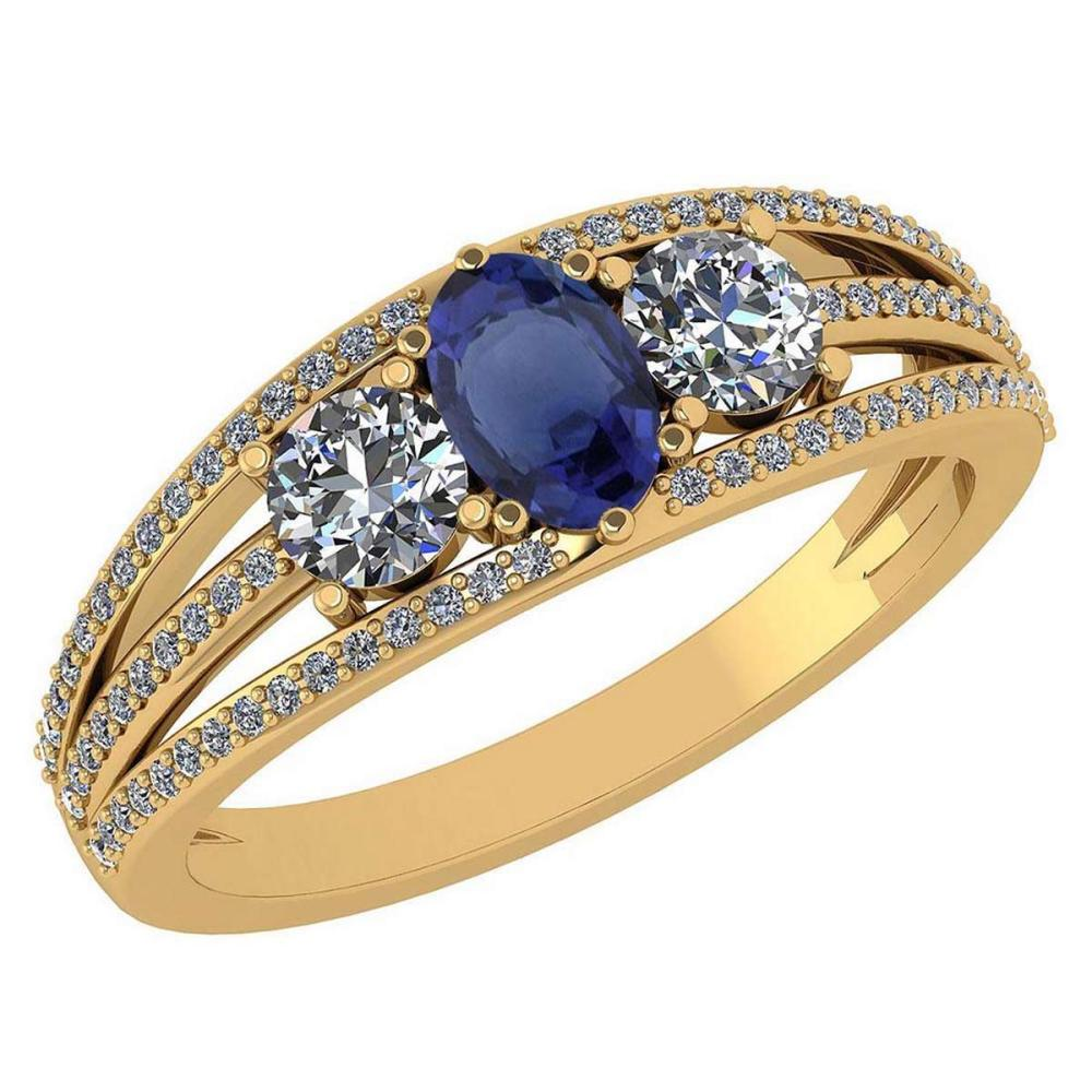 Certified 1.16 Ctw Blue Sapphire And Diamond 14k Yellow Gold Halo Ring VS/SI1 #IRS99378