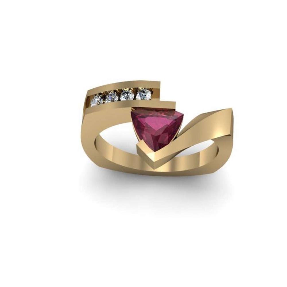 Genuine 0.82 ctw Ruby Trillion Diamond Ring 10k #IRS12768