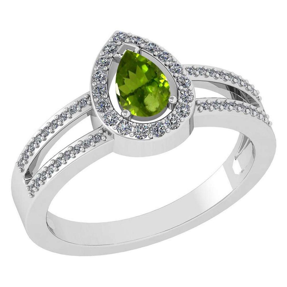 Certified 0.74 CTW Peridot And Diamond 14k White Gold Halo Ring #IRS98684