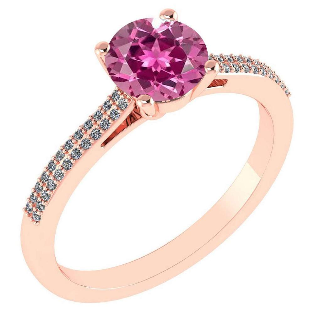 Certified 1.37 Ctw Pink Touramline And Diamond 14k Rose Gold Halo Ring #IRS97270