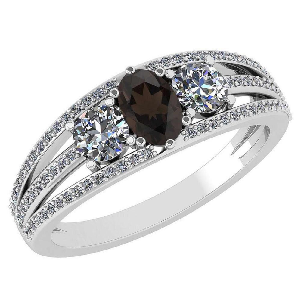 Certified 1.16 Ctw Smoky Quarzt And Diamond 14k White Gold Halo Ring VS/SI1 #IRS99410