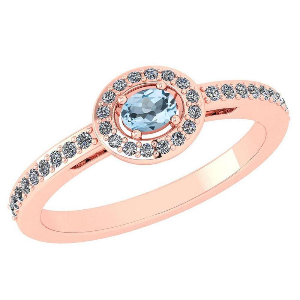 Certified 0.29 Ctw Aquamarine And Diamond 14k Rose Gold Halo Ring VS/SI1 #IRS99867