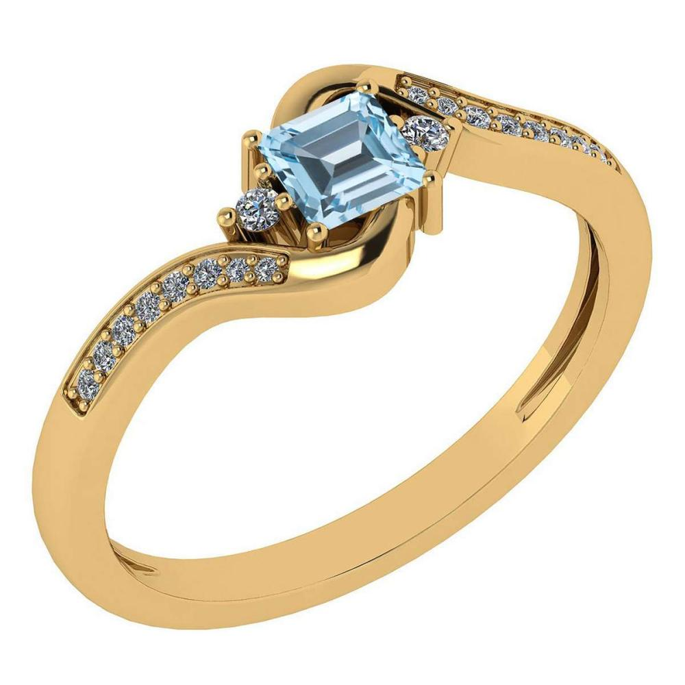 Certified 0.51 Ctw Blue Topaz And Diamond 14k Yellow Gold Halo Promise Ring #IRS97293