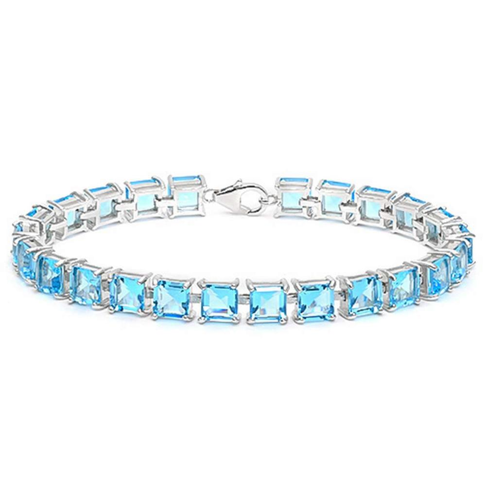 24.1 CT CREATED SKY BLUE TOPAZ 925 STERLING SILVER TENNIS BRACELET IN SQUARE SHAPE #IRS50079