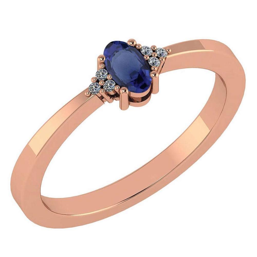 Certified 0.24 CTW Blue Sapphire And Diamond 14k Rose Gold Halo Ring #IRS98458
