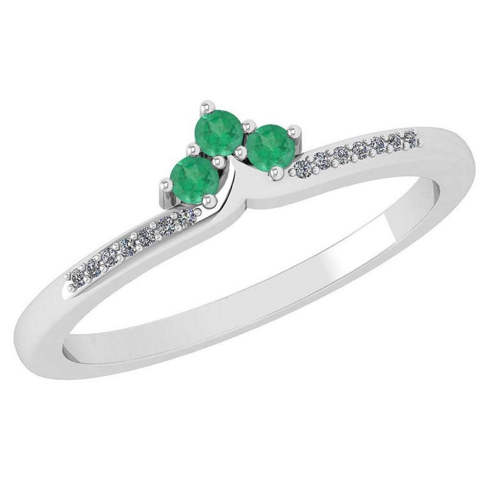 Certified 0.13 Ctw Emerald And Diamond 14k White Gold Halo Ring VS/SI1 #IRS99447