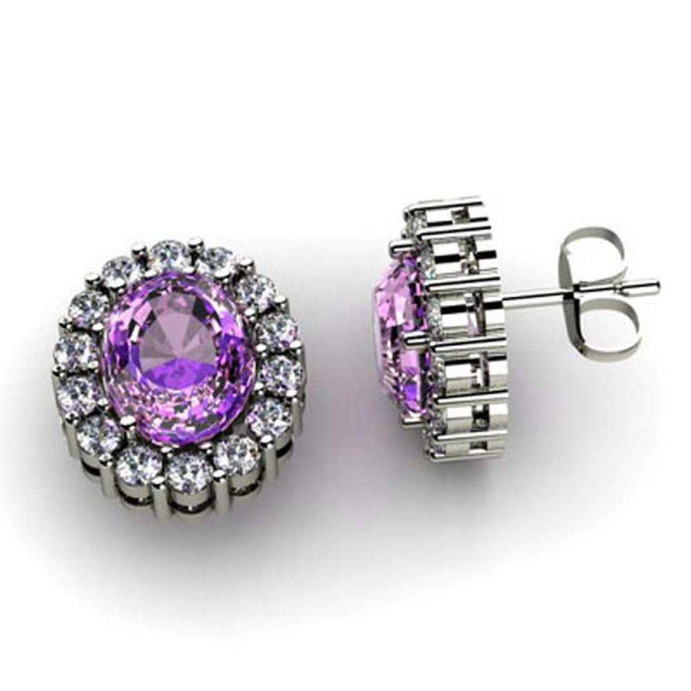 Genuine 3.04 ctw Amethyst Diamond Earring 10k W/Y Gold #IRS11965