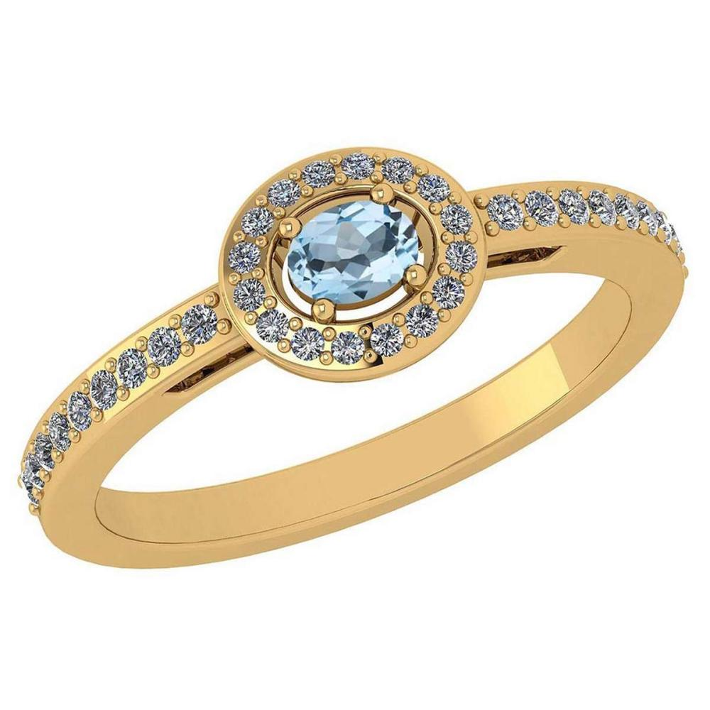 Certified 0.29 Ctw Aquamarine And Diamond 14k Yellow Gold Halo Ring VS/SI1 #IRS99878