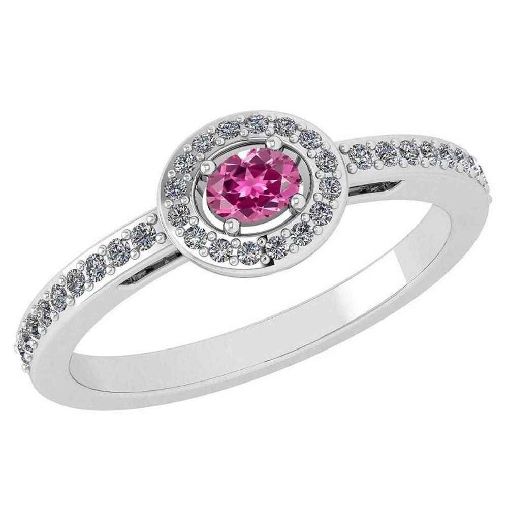 Certified 0.29 Ctw Pink Tourmaline And Diamond 14k White Gold Halo Ring VS/SI1 #IRS99885