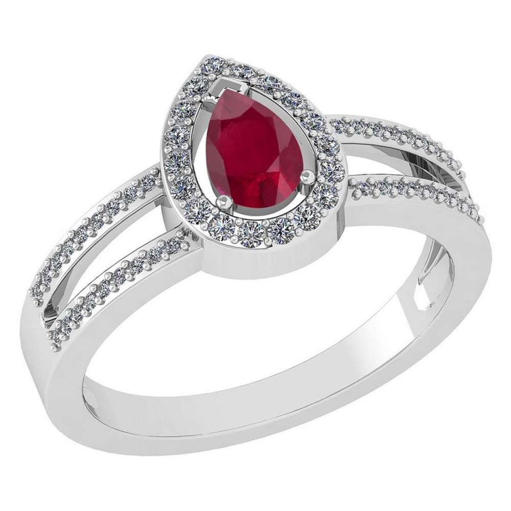 Certified 0.74 CTW Ruby And Diamond 14k White Gold Halo Ring #IRS98679