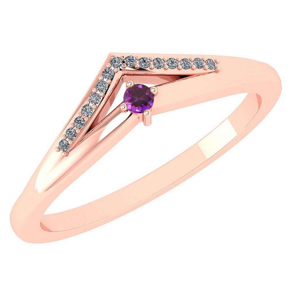 Certified 0.07 Ctw Amethyst And Diamond 14k Rose Gold Halo Ring VS/SI1 #IRS99813