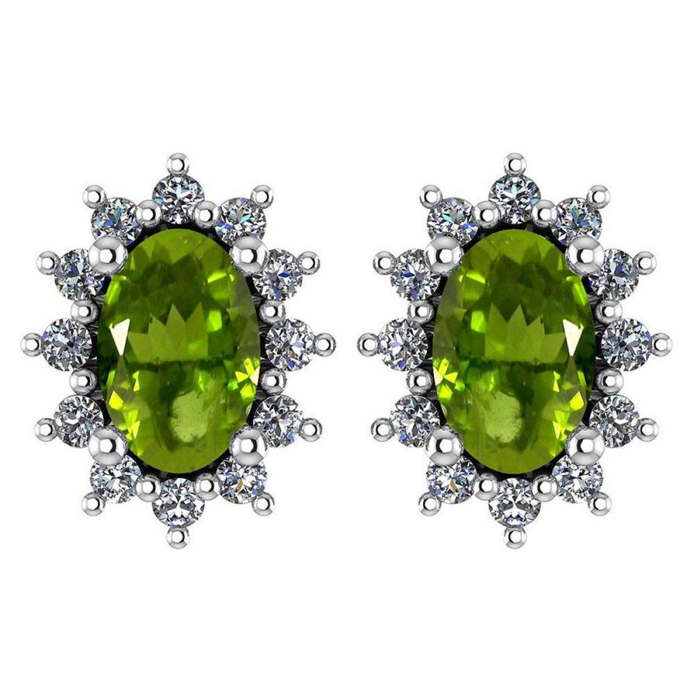 Certified 1.24 Ctw Peridot And Diamond 14k White Gold Halo Stud Earrings #IRS99847