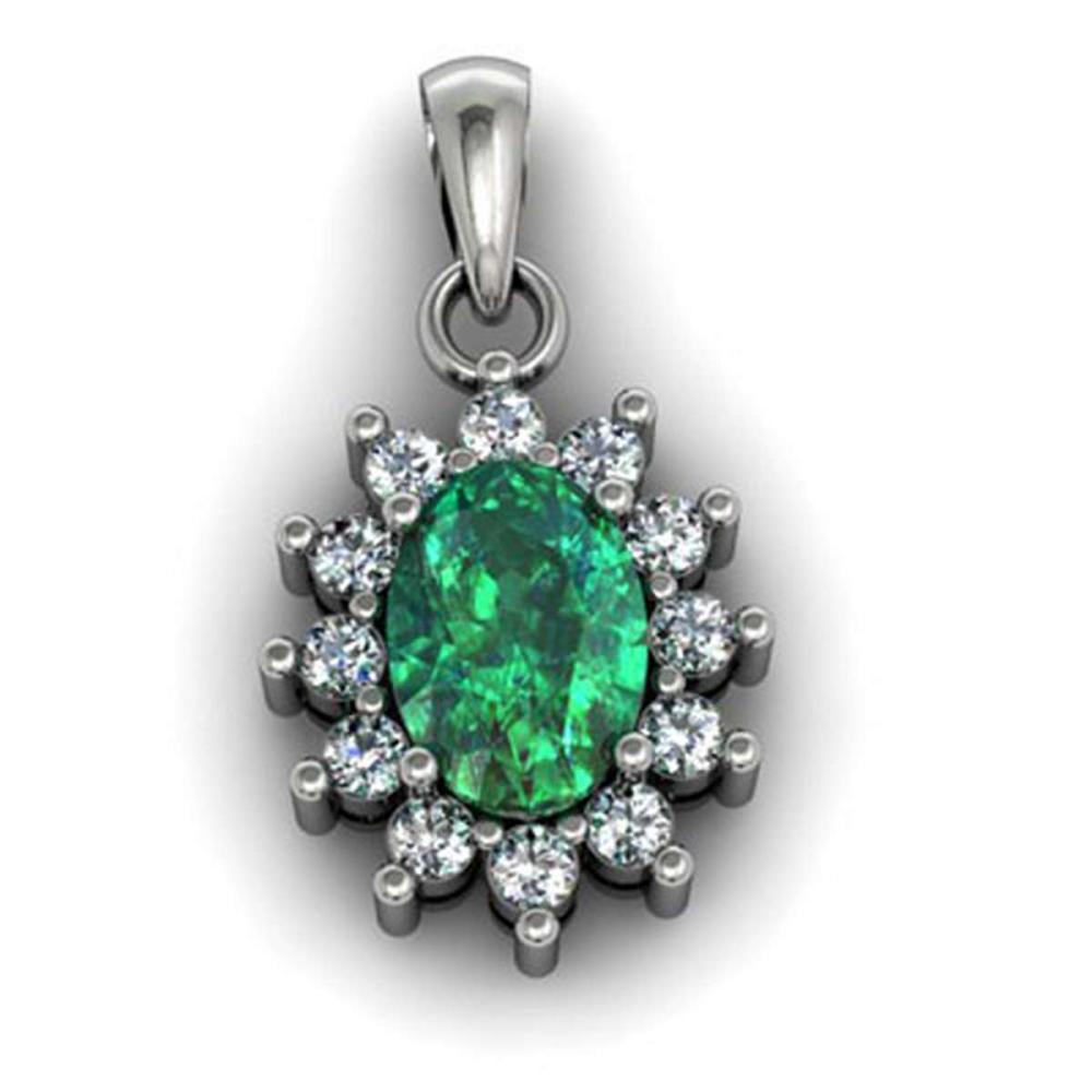 Genuine 1.04 Ctw  Emerald (Beryl) Pendant  14k #IRS11712