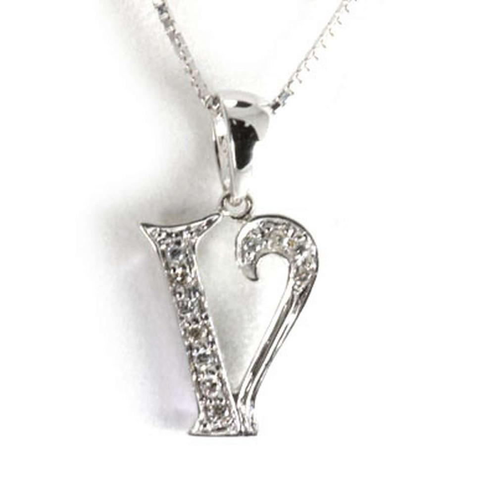 Genuine 0.06 ctw Letter V Diamond Necklace 16 14kt #IRS33345