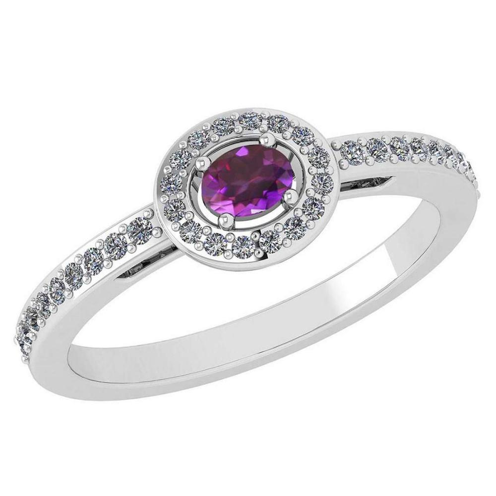 Certified 0.29 Ctw Amethyst And Diamond 14k White Gold Halo Ring VS/SI1 #IRS99890