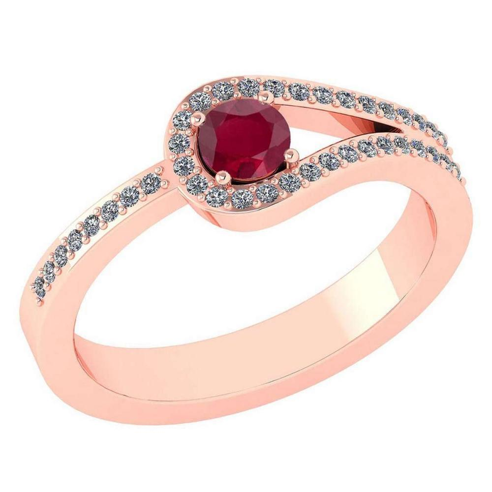 Certified 1.30 Ctw Ruby And Diamond 14k Rose Gold Halo Ring VS/SI1 #IRS99358
