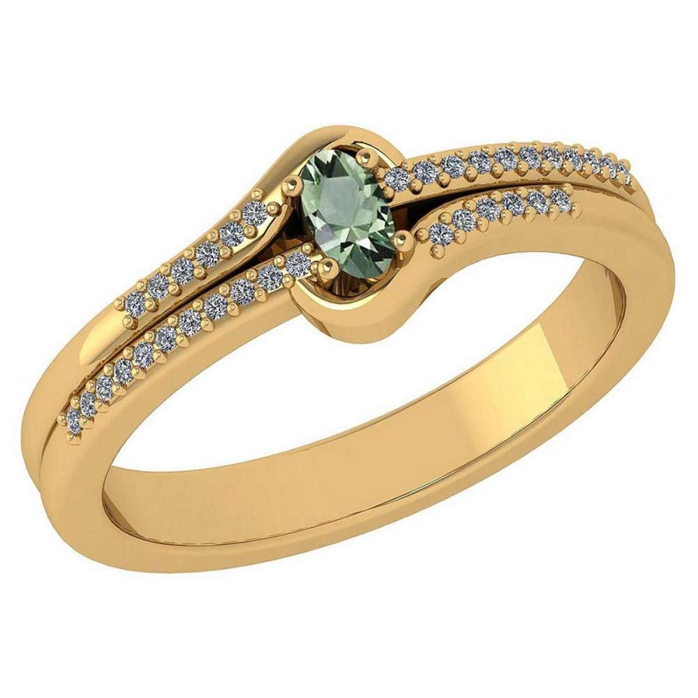 Certified 0.29 Ctw Green Amethyst And Diamond 14k Yellow Gold Halo Ring VS/SI1 #IRS99439