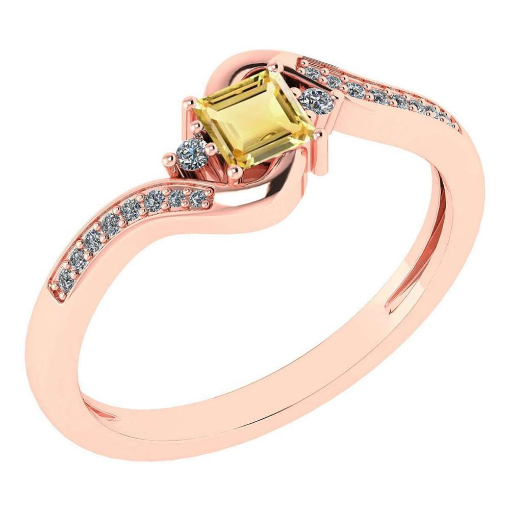 Certified 0.51 Ctw Citrine And Diamond 14k Rose Gold Halo Promise Ring #IRS97310