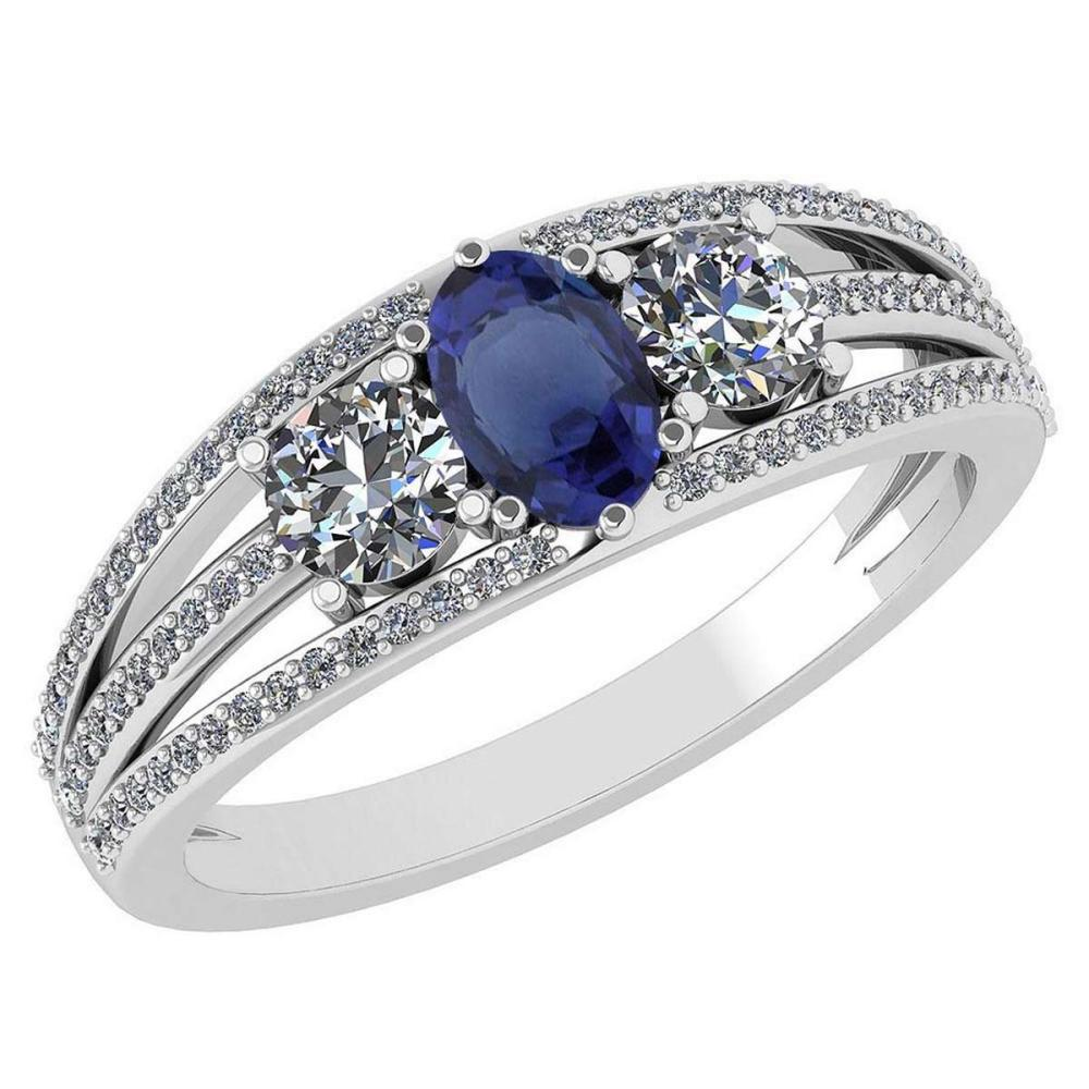 Certified 1.16 Ctw Blue Sapphire And Diamond 14k White Gold Halo Ring VS/SI1 #IRS99400